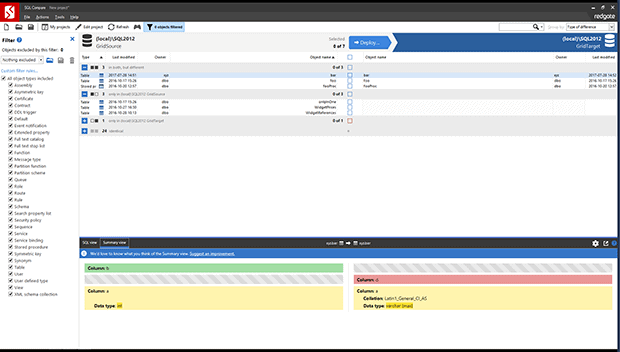 Explore changes made by your colleagues with SQL Compare. You can see exactly which objects have changed and check differences down to single lines of SQL.