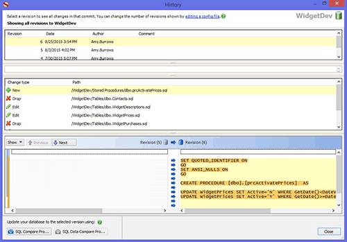 Connect to your version control system inside SQL Server Management Studio, so you can access it with a couple of clicks as you work.