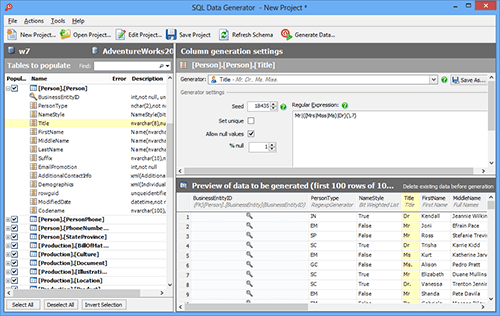 Create realistic test data for load testing and integration tests, with SQL Data Generator.