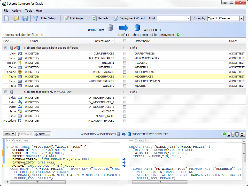 See differences in your schema objects highlighted side-by-side in Schema Compare for Oracle