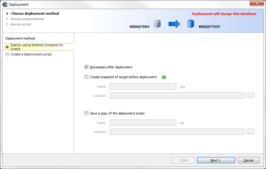 Deploy using Schema Compare for Oracle