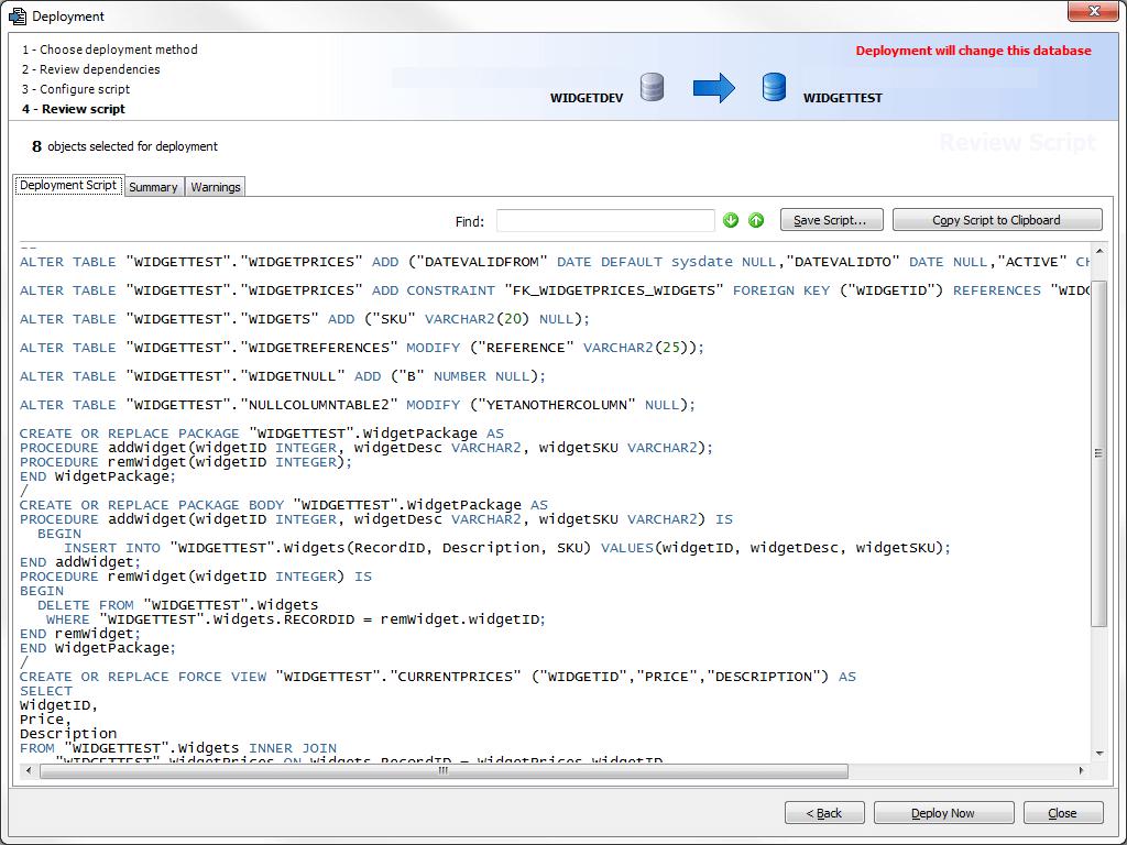 Deployment script to update schema changes