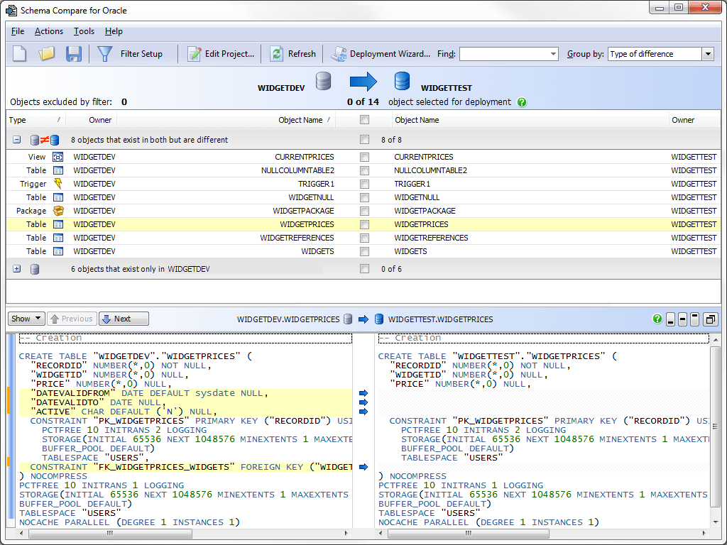 See highlighted differences in the DDL for schema objects across two instances of your database