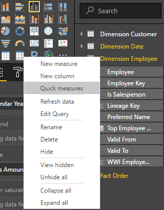 power bi quick measures context