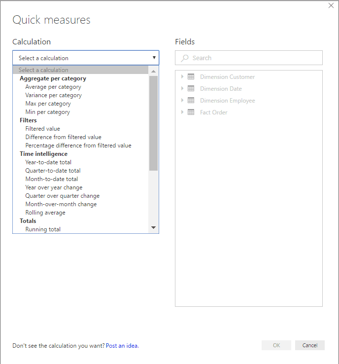 power bi quick measures window