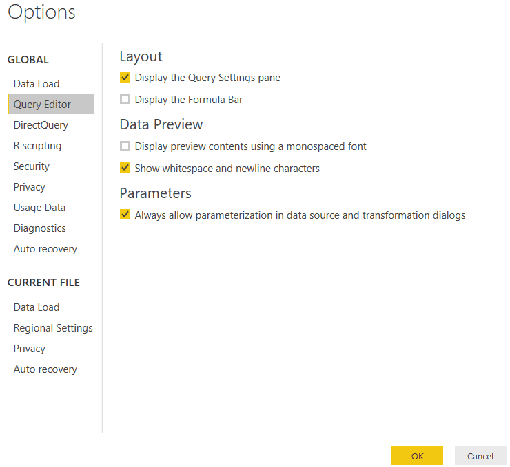 power bi options