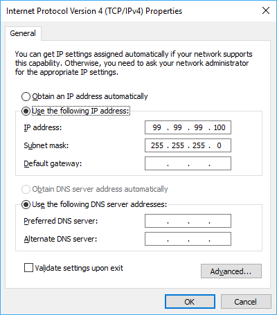 Static IP address on host side of virtual internal network.