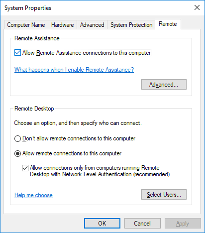 Allowing Remote Desktop Connection in Windows 10.