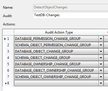 Database Change Audit Specification