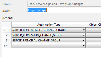 Server Audit Specification to Detect Login Changes