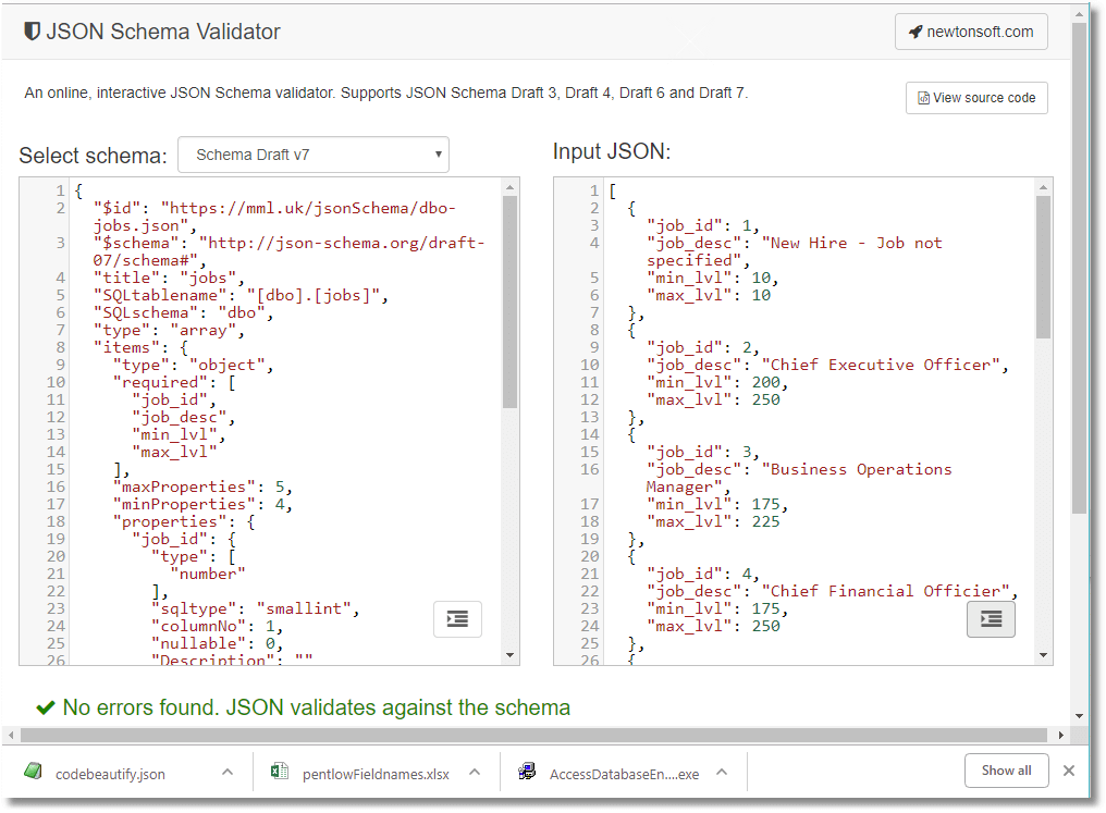 How to validate JSON Data before you import it into a database.