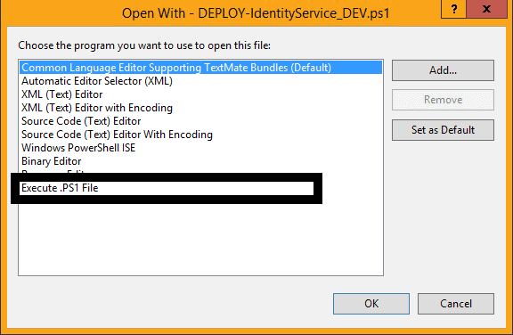 Running a  PS1 or  CMD file from Visual Studio Project Explorer