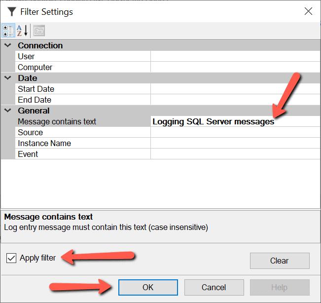 applying filter Search SQL Server error log files