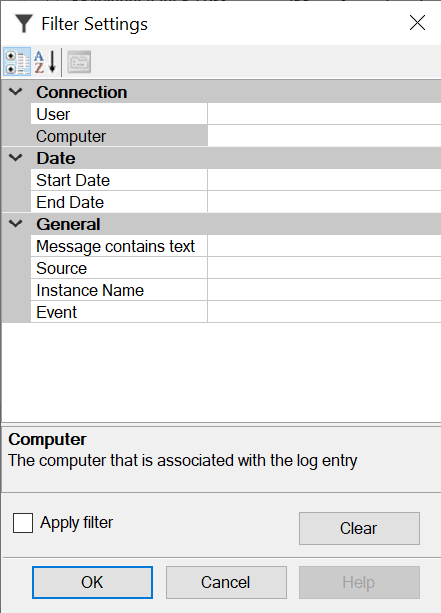 filter options Search SQL Server error log files