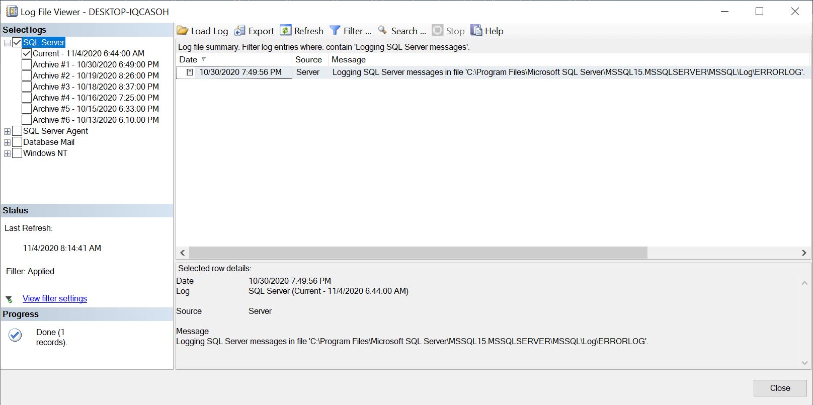 word image 63 Search SQL Server error log files