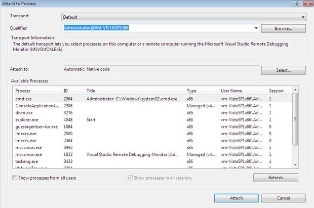 remote debug target machine name
