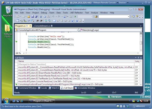 remote debugging via VM