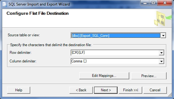 Selecting the Table for export