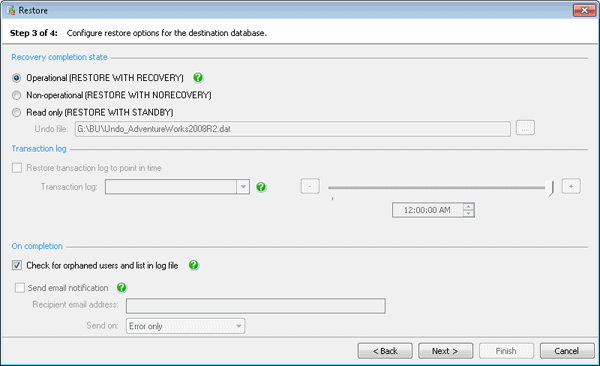 Configure restore options for the destination database