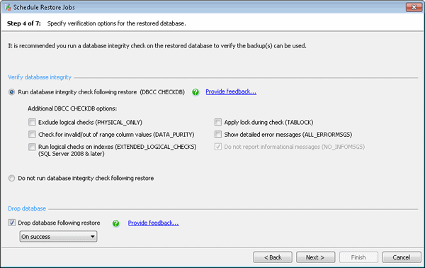 Specify Verification options for the restored database