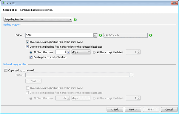Configure backup file settings