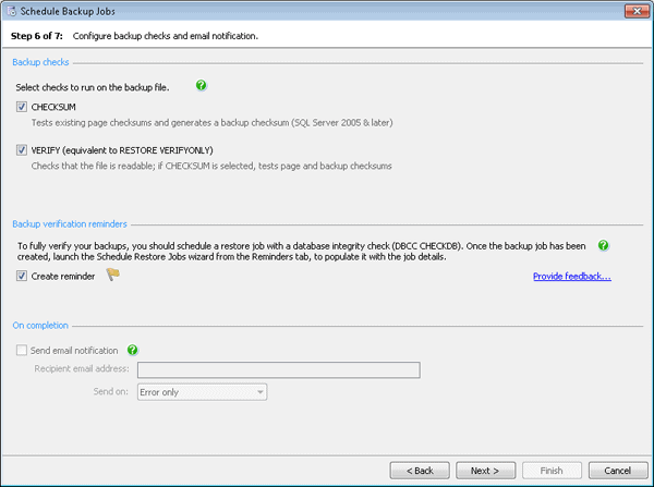 Configure backup checks and email notification