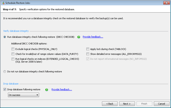 Specify verification for the restored database