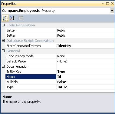 Editing the Employee entity's properties