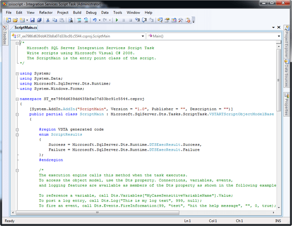 Default C# code in the VSTA IDE window