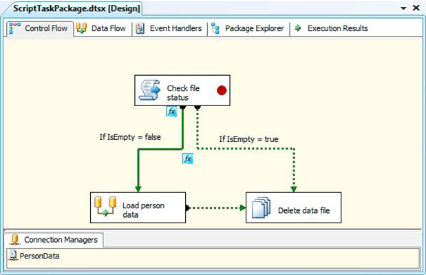 Adding a Data Flow task and File System task to the control flow