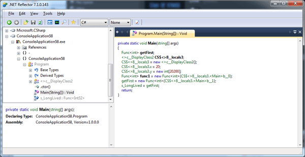 Using .NET Reflector to see how the C# compiler unintentionally keeps objects alive unnecessarily