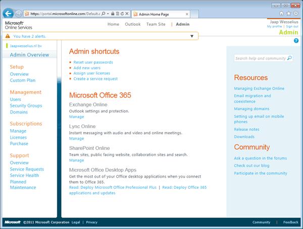 Microsoft Online Portal