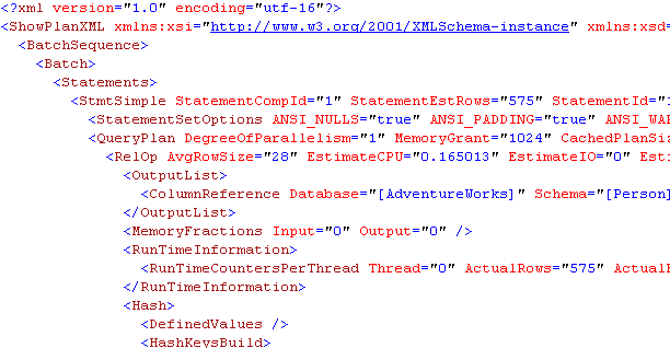 XML execution plan
