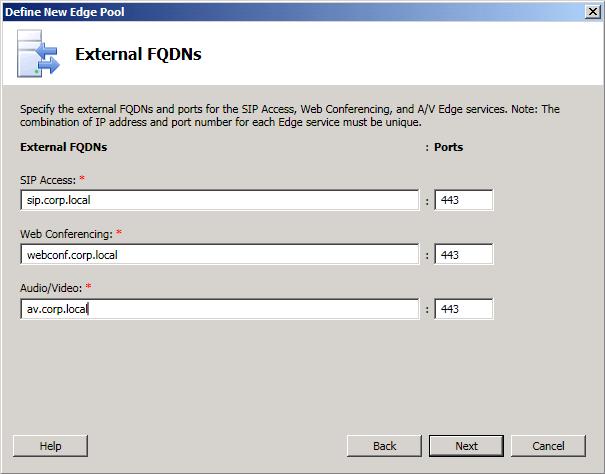 Configure external FQDNs