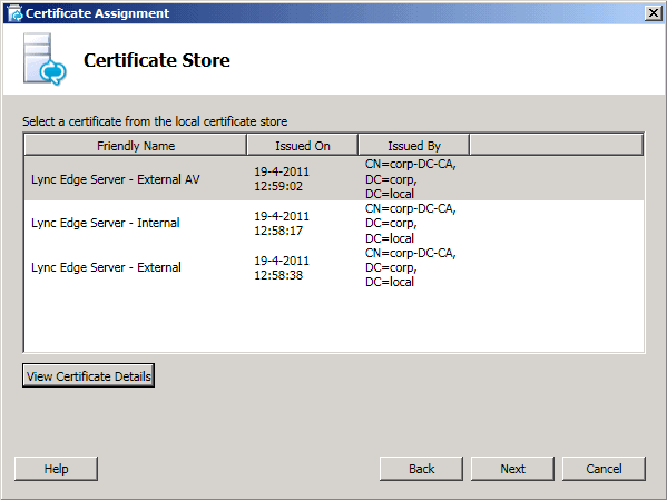 Selecting form the Certificate store