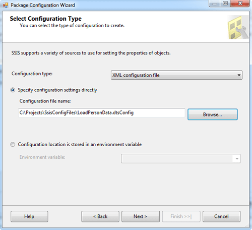 The Select Configuration Type screen in the Package Configuration wizard