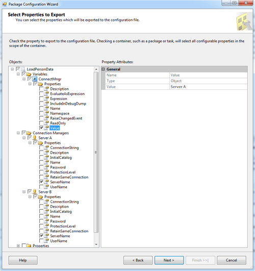 Selecting properties in the Package Configuration wizard
