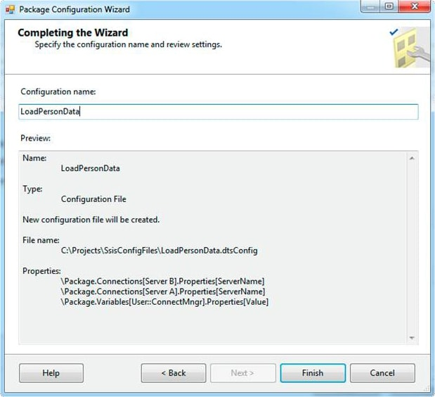 Completing the Wizard screen in the Package Configuration wizard