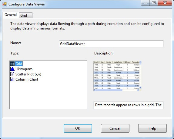 Creating a grid data viewer on a data path