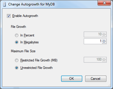 Options for Changing the Autogrowth settings