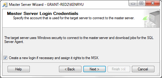 Master server login credentials