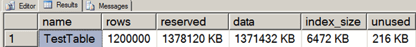 TestTable is over 1GB in size