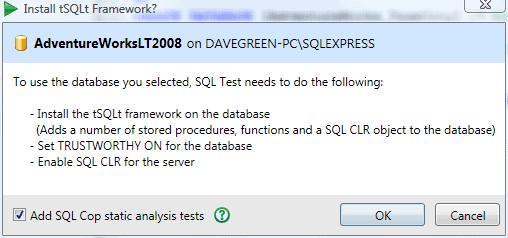 Adding SQL Cop tests