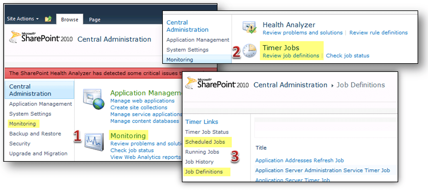 Timer Jobs in the Central Administration UI