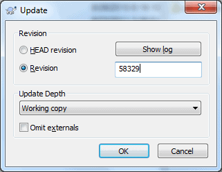 Dialog to update to a specific revision