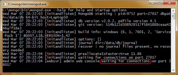 Launching the initial instance of MongoDB