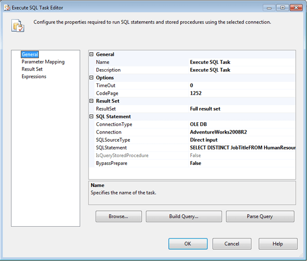 Configuring the General page of the Execute SQL Task editor