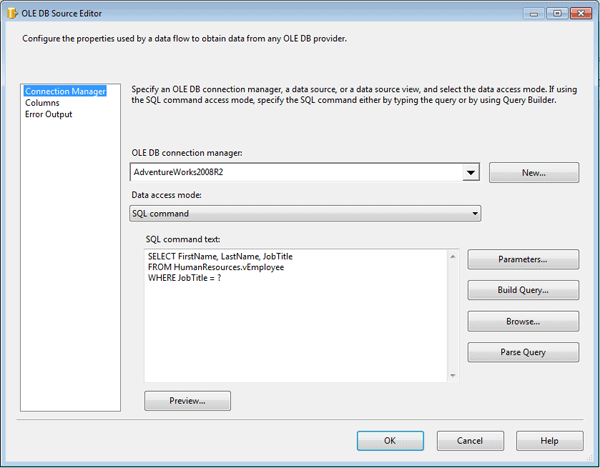 Setting up the control flow in your SSIS package