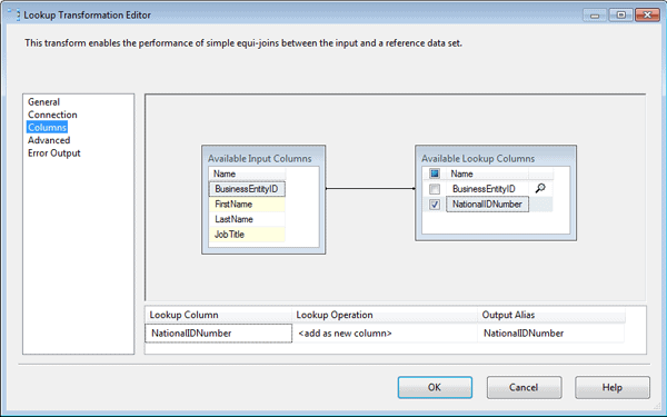 Configuring the Columns page of the Lookup Transformation editor