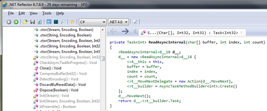 the ReadAsyncInternal method in the .NET 4.5 version of mscorlib